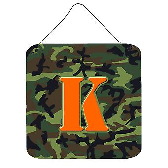 الحرف K مونوغرام الأولية-التمويه حائط أخضر أو باب شنقاً يطبع