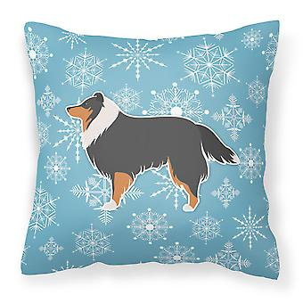 Winter Snowflake Sheltie/Shetland Sheepdog Fabric Decorative Pillow
