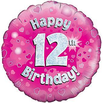 День рождения 18-дюймовый счастливые 12 Октри розовый Баллонная голографической