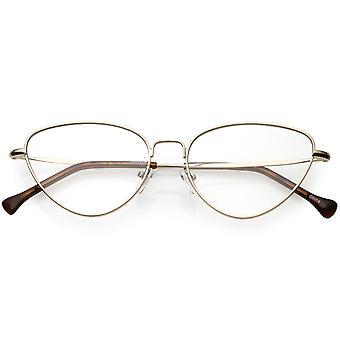 Frauen schlanken Metall arme Katze Brillen klar flache Linse 53mm