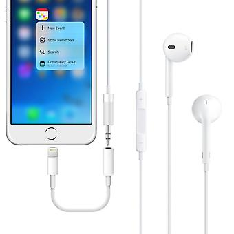 Audio adapter-lightning Jack voor Apple iPhone 7 & 7 plus wit
