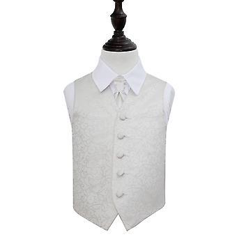 Elfenben virvel bryllup vest & Cravat sett for gutter