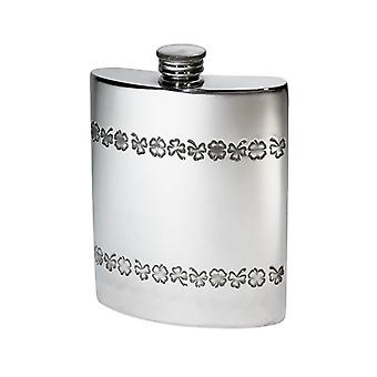 Shamrock Embossed Pewter Flask - 6oz