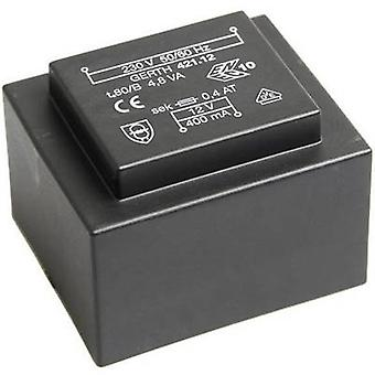 Gerth PT423602 PCB mount transformer 1 x 230 V 2 x 18 V AC 4.80 VA 133 mA