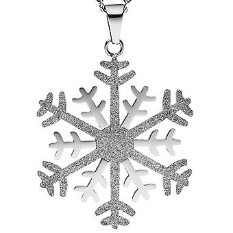 Necklace chain with pendant snowflake stainless steel bicolor glitter effect 42 cm