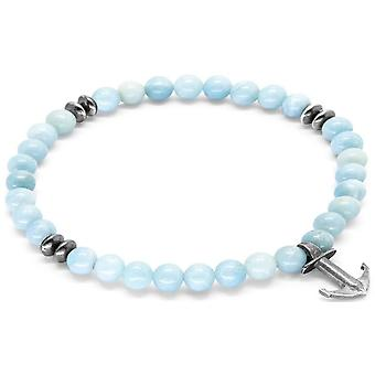 Anchor and Crew Starboard Silver and Amazonite Stone Bracelet - Turquoise/Silver