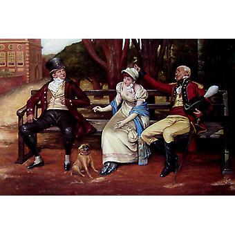 Elegant kvinna och man, handmålad oljemålning på duk, 90x60 cm