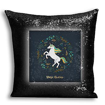 i-Tronixs - Unicorn Printed Design Black Sequin Cushion / Pillow Cover for Home Decor - 12
