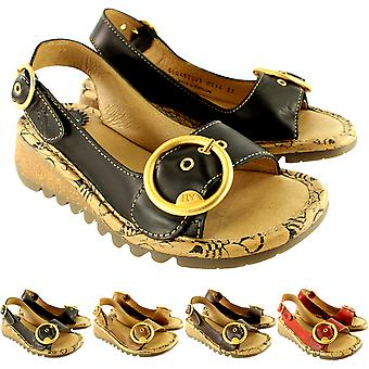 Womens Fly London Tram Low Wedge Summer Holiday Buckle Peep Toe Sandals