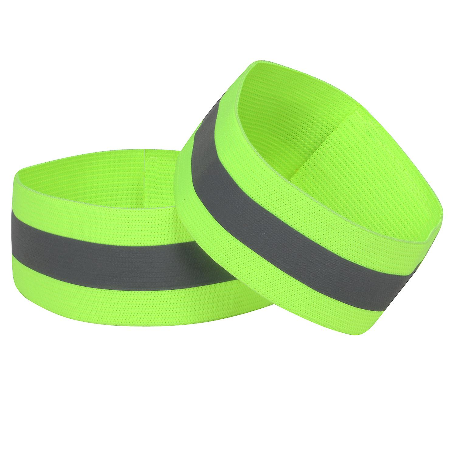 TRIXES Safety Armbands x 2 for Roadside Walking and Adverse Weather - One Size Hook and Loop High Visibility