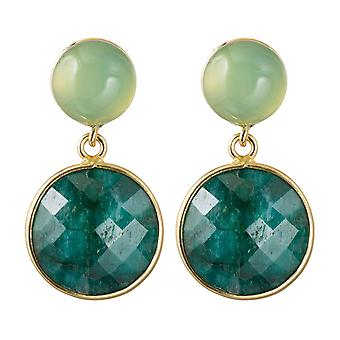 Gemshine earrings emeralds and green chalcedony gemstones 925 silver plated