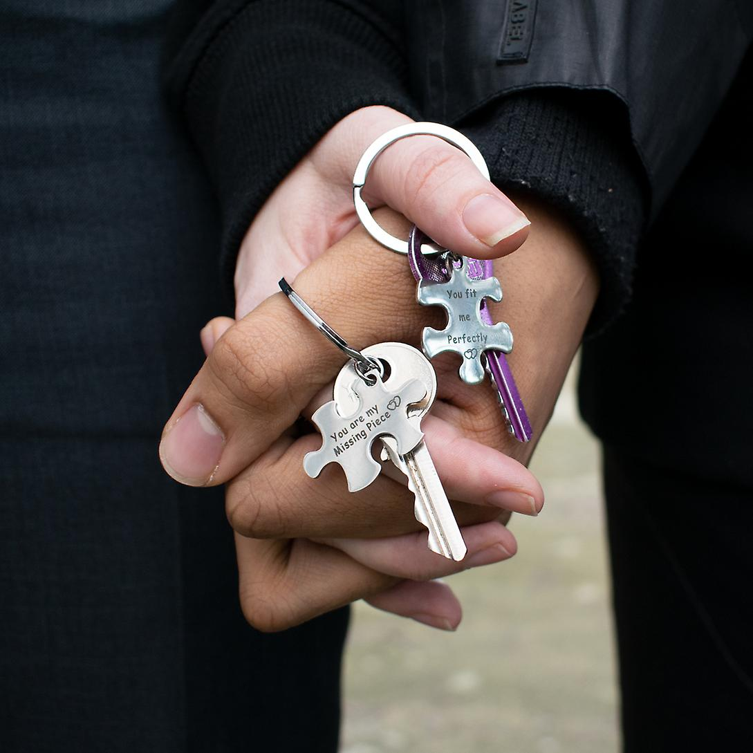2 Way Spli Metal Keyring TRIXES You Are My Missing Piece You Fit Me Perfectly