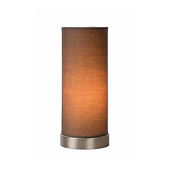 Lucide Tubi moderne sylinder bomull Taupe og sateng krom bordlampe