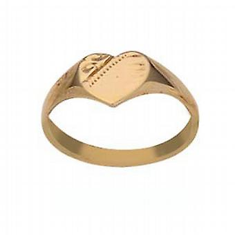 9ct Gold 5x5mm hand engraved heart ladies or babies Ring Size G