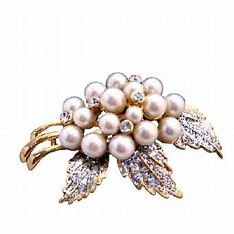 Fancy Ivory Pearls with Glittered Leafs Wedding Gold Brooch