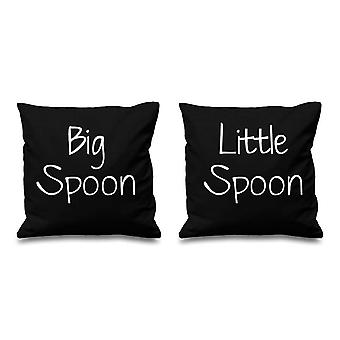 Big Spoon Little Spoon Black Cushion Covers 16