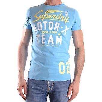 Superdry Ezbc114005 Hombres's Camiseta de algodón azul claro