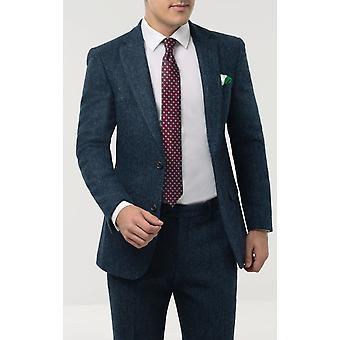 Scottish Harris Tweed Mens Blue Suit Jacket Regular Fit 100% Wool Herringbone