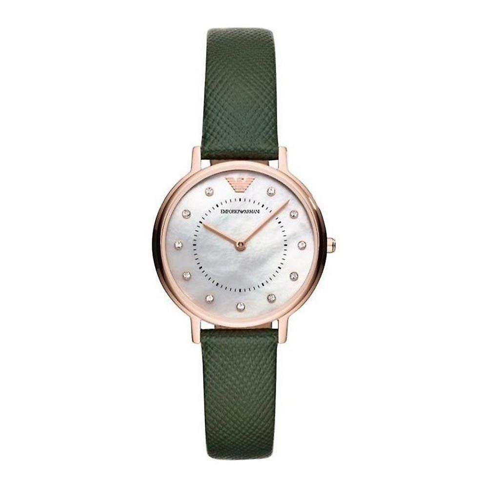 Emporio Armani Ar11150 Green Leather Strap Two-hand Dial Ladies Watch