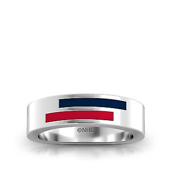 Columbus Blue Jackets Sterling Silver Asymmetric Enamel Ring In Blue & Red