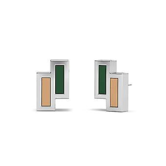 Ohio University Sterling Silver Asymmetric Enamel Stud Earrings In Green and Brown