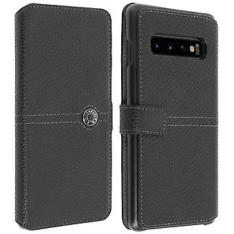 Samsung Galaxy S10 Flip Case Card Holder Textured Effect Façonnable Black