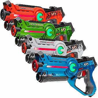 4 laser guns green, orange, white and blue
