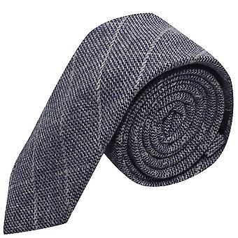 Stone Blue Birdseye Weave Check Tie