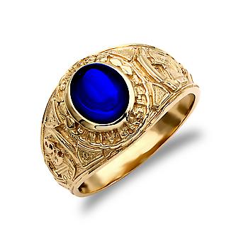 Jewelco London Herren solide 9ct Gelbgold blau Oval Zirkonia Cabochon Solitaire Oval University College Ring