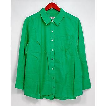 Denim & Co. Petite Top L pellava sekoitus pitkähihainen painike-up vihreä A290194