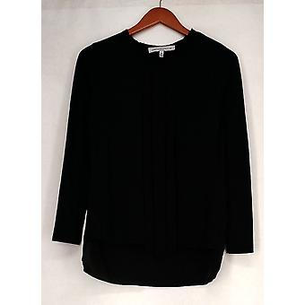 Pamela Mccoy Top Long Sleeve Pleated Overlay Black Womens A418377
