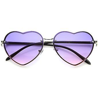 Women's Rimless Frame Flower Accent Heart Shape Oversize Sunglasses 62mm