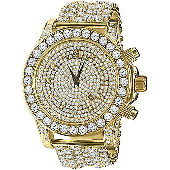 BURNISH alta calidad COMPLETA ICED OUT ZIRKONIA Reloj - oro