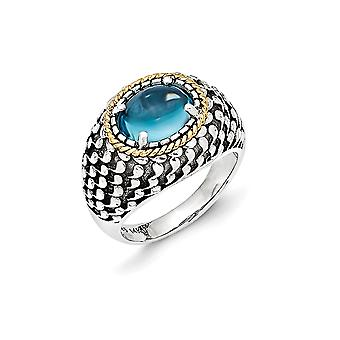 925 Sterling Silver With 14k Blue Topaz Ring Size 8 Jewelry Gifts for Women - 4.15 cwt