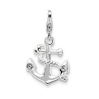 925 Sterling Silver Polerad Fancy Lobster Stängning 3 d Enameled Nautiska fartyget Mariner Anchorw Lobster Clasp Charm Pendan