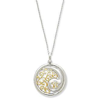 925 Sterling Silver polerad gåva Boxed Spring Ring Rhodium pläterad och Guld blixtrade Harmony 18inch Halsband Smycken Gift
