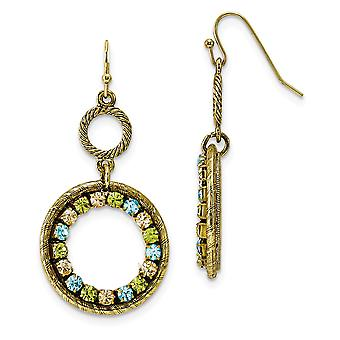 Shepherd hook Brass tone Blue Green and Yellow Crystal Circle Long Drop Dangle Earrings Measures 51x27mm Wide Jewelry Gi