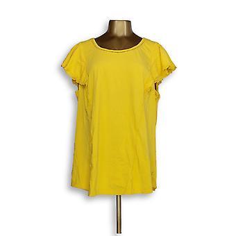 Isaac Mizrahi Live! Kvinner ' s pluss topp-og-lomme ermet tunika gul A308013