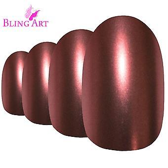 Falsche Nägel durch Bling Kunst braun matt metallic ovale mittlere gefälschte Acryl Tipps Kleber