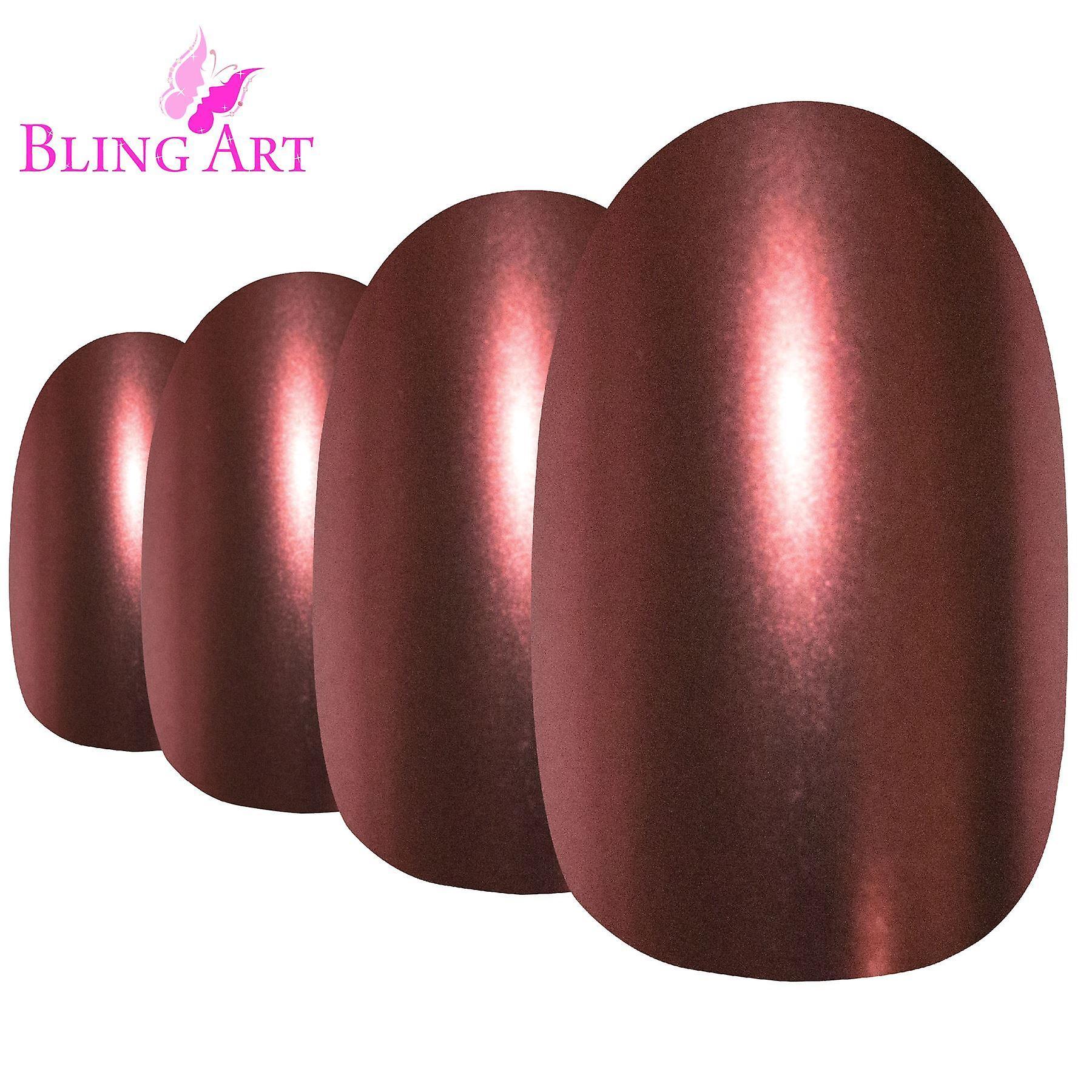 False nails by bling art brown matte metallic oval medium fake acrylic tips glue