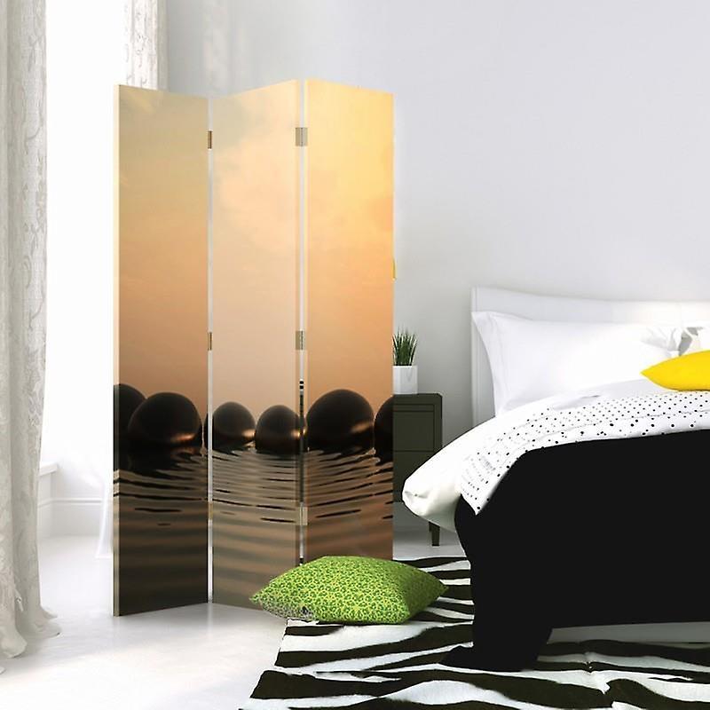 Diviseur de chambre, 3 panneaux, à un seul côté, toile, pierres zen 5