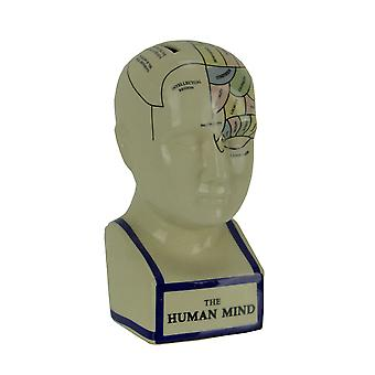 Phrenology Head With Colored Map Ceramic Coin Bank