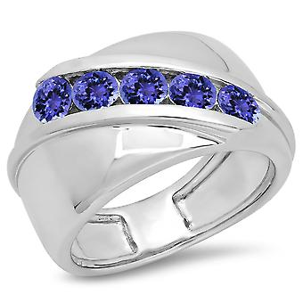 Dazzlingrock Collection 1.00 Carat (ctw) Sterling Silver Round Tanzanite Men's Channel Set 5 Stone Wedding Band 1 CT