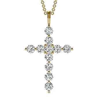 14K Yellow Gold Moissanite por Charles & Colvard 3mm Round Cross Necklace, 1.10cttw DEW