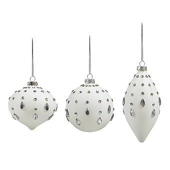 Single White Glass Diamante Embellished Christmas Tree Bauble Ornament