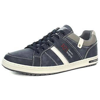 Route 21 M721C 6 Eye Navy Mens Casual Lace Up Trainer Shoes