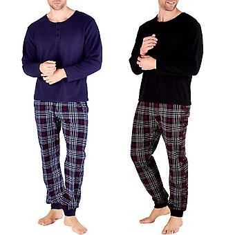 Harvey James Mens Sprawdzone Thermal Long Sleeve Fleece Warm Loungewear Pyjama Set