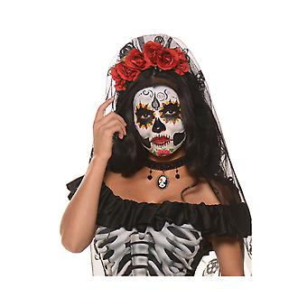 Day Of The Dead Mantia Senorita Mexican Women Costume Headgear Headpiece Veil