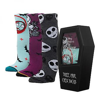 Nightmare Before Christmas Coffin 3-Pair Crew Socks Box Set