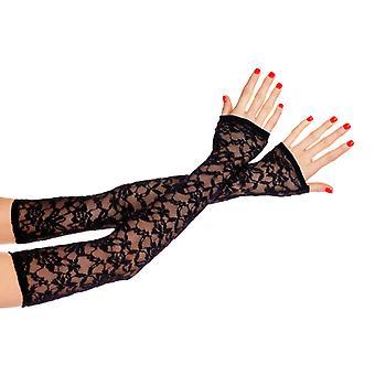 Long Lace Gloves-Black